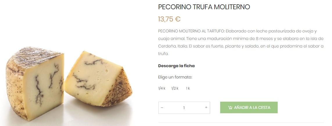 Pecorino Trufa Moliterno queso italiano